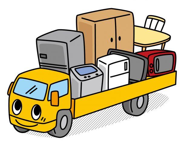 トラックに積んだ引越し荷物