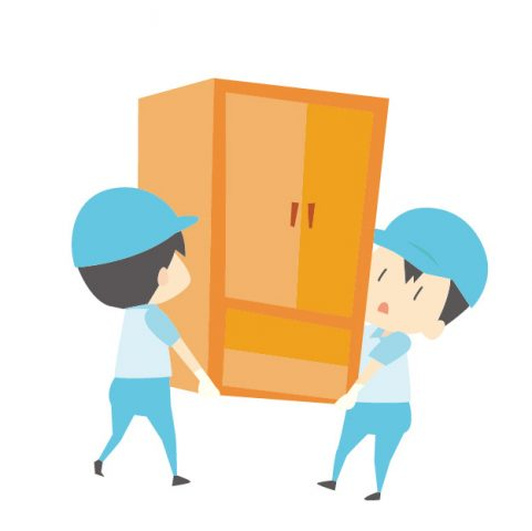 引っ越し業者が箪笥を運搬する