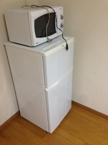 電子レンジと冷蔵庫ですが、このタイプの間取りはキッチンではなく、リビングに備え付けてありました。