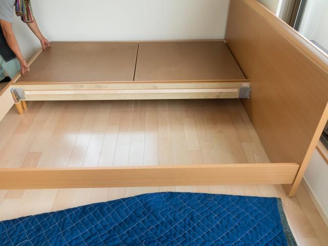 シングルサイズを合わせて、ダブルベッドにする