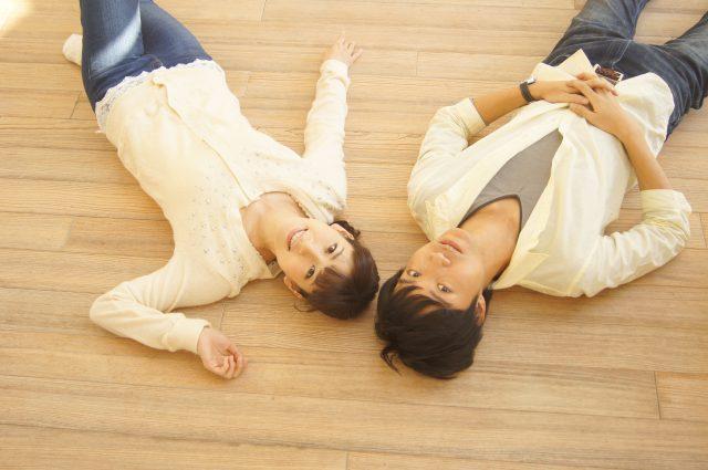 床暖房に寝転ぶ