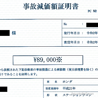 事故減価額証明書