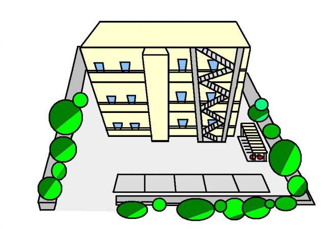 マンションと駐車場